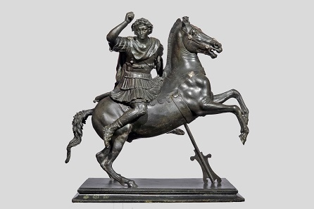 Small Statue of Alexander the Great astride Bucephalos. Roman, Late Republican or Early Imperial period, second half of the 1st century B.C.; copy of a Greek original of ca. 320-300 B.C. Bronze. H. 19 1/8 (48.6 cm), L. 18 1/2 in. (47 cm). Museo Archeologico Nazionale, Naples (1996).