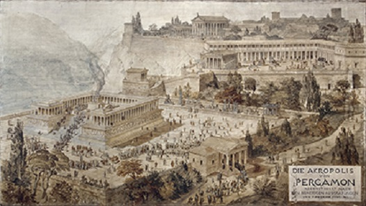 The Akropolis of Pergamon. By Friedrich (von) Thiersch, 1882. Pen and ink with watercolor on canvas. H. 78 in. (198 cm), W. 11 ft. 53/4 in. (350 cm). Antikensammlung, Staatliche Museen zu Berlin (Graph 91). Image: © SMB / Antikensammlung.