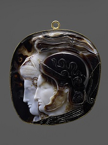 The Vienna Cameo. Greek (Ptolemaic), Early Hellenistic period, 278-270/69 B.C. Ten-layered onyx (Indian sardonyx). H. 41/2 in. (11.5 cm), W. 4 in. (10.2 cm). Antikensammlung, Kunsthistorisches Museum, Vienna (IXa 81).