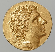 Stater of Mithridates VI Eupator Dionysos. Greek, Late Hellenistic period, 86-85 B.C. Gold. Diam. 1 1/8 in. (2.11 cm), Wt. 0.3 oz. (8.45 g). Numismatic Museum, Athens (NM BE 717a/1998). Image: © Epigraphic and Numismatic Museum, Athens, Greece.