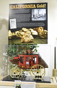 On display is a also scale model replica of a Wells Fargo