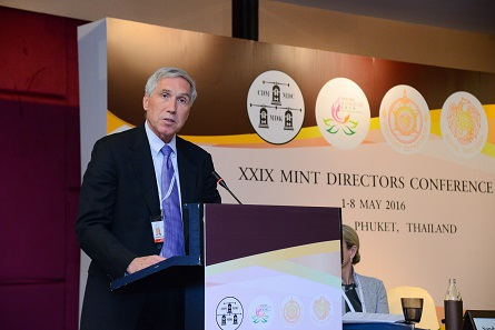 Jon Cameron of the U.S. Mint introduced the excellent U.S. Mint's program for children and youths. Photograph: Mint of Thailand.