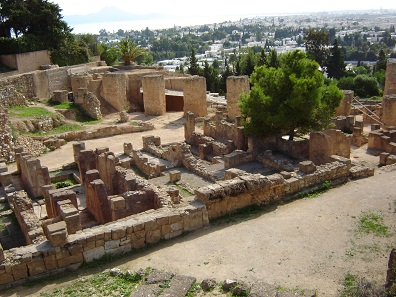 Few ruins on the hill Bysra are witnesses to the former powerful Carthage. Photograph: Wikicommons.