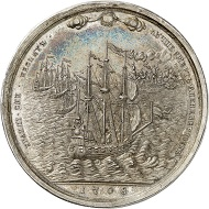 Lot 243: RUSSIA. Silver medal 1708 by S. Gouin, on Russian Admiral Fyodor Apraksin. Later, 18th century-striking. Very rare. Extremely fine to FDC. Estimate: 3,000 euros. Hammer price: 30,000 euros.