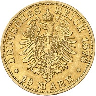 Lot 3958: GERMAN EMPIRE. Prussia. William I, 1861-1888. 10 mark 1878 B. J. 245B. Extremely rare. Very fine. Estimate: 50,000 euros. Hammer price: 60,000 euros.