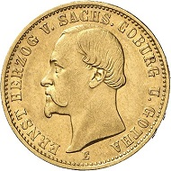 Lot 4073: GERMAN EMPIRE. Saxe-Coburg-Gotha. Ernest II, 1844-1893. 20 mark 1872. J. 270. Very rare. Good very fine. Estimate: 50,000 euros. Hammer price: 60,000 euros.