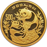 Lot 29333: People's Republic gold Panda Proof, 500 Yuan (5 oz), 1993, PR69 Ultra Cameo NGC, KM 482. Realized $45,410.