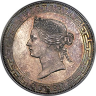 Lot 29412: British Colony, Hong Kong, Victoria Proof Dollar, 1866, Hong Kong mint, Plain edge, PR62 PCGS, KM 10, Pr-1A. Realized $43,020.
