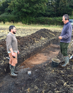 Dr Hugh Willmott of the University of Sheffield (l.) and Graham Vickers (r.) at the area of excavation. Photo: University of Sheffield.
