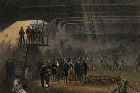 Coiling the cable in the after-tank on board the Great Eastern at Sheerness: visit of H.R.H. The Prince of Wales on May 24. Image drawn by Robert Dudley and included in William Russell's book The Atlantic Telegraph, published in (1865). Provided here courtesy of Bill Burns, who operates the Web site History of the Atlantic Cable & Submarine Telegraphy (accessed 1 July 2005).
