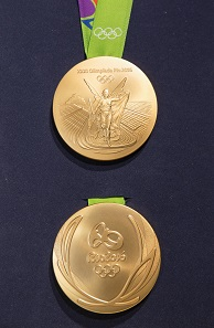 This is the design of the Rio 2016 winner medals. Photo: Photo: © 2016 / Comité International Olympique (CIO) / Ian Jones.