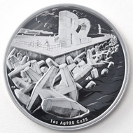The R2 crown sterling-silver coin shows dolos, concrete blocks in complex geometric shapes which protect harbours.