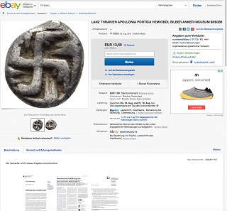 Screenshot of the auction offering the archaic hemiobol from the city of Apollonia Pontica, retrieved on August 8, 2016.
