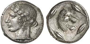 Leontinoi. Tetradrachm, ca. 440-425. From Gorny & Mosch Auction 219 (2014), 38.