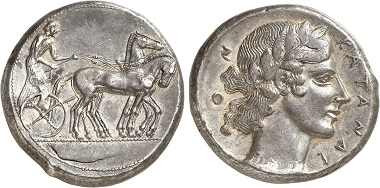 Catane. Tetradrachm, ca. 450-445. From Gorny & Mosch Auction 236 (2016), 35.
