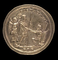 Part of the Beaurains Hoard. Medallion of 5 aurei of Constantius I. Reverse depicting Constantius raising Britannia from her knees. Photo: The Trustees of the British Museum.