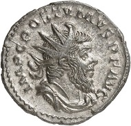 Antoninianus, Cologne, 263. Rev. VICTORI-A GERMANICA Victory r. From the forthcoming Jacquier Auction 42 (16.9.2016), Lot 533. Extremely fine. Estimate: 1,500 euros.
