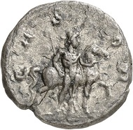 Denarius, Cologne, beginning of 268. Bust of Postumus and head of Hercules l. Rev. CASTOR The dioscur Castor r., holding his horse by its bridle. From the forthcoming Jacquier Auction 42 (16.9.2016), Lot 588. Good very fine. Estimate: 3,000 euros.