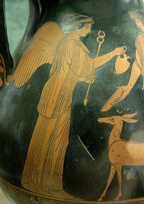 The Greek goddess Iris, after whom iridium was named. Attic red-figure pelike of the Providence Painter, mid-5th cent. BC.