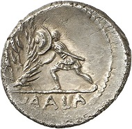 Denarius of C. Numonius Vaala, Rome, 43 BC. With portrait of Cassius. Cr. 514/2. From Künker Auction 280 (2016), 392. Estimate: 4,000 euros.