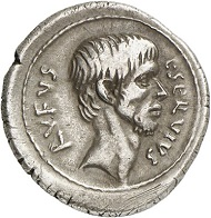 Denarius of L. Servius Rufus, Rome, 43 BC. With portrait of Brutus. Cr. 515/2. From Künker Auction 280 (2016), 393. Estimate: 4,000 euros.