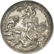 Silver medal, no year (ca. 1700), die cut by Philipp Heinrich Müller, from the Friedrich Kleinert medal mint. Luna-Diana over Mercury, lying on the burning stake. Rev. Winged Saturn chains fleeing Mercury with vine, between them Jupiter, sitting on an eagle and holding a torch. From Künker Auction 282 (September 28, 2016), Lot 4792.