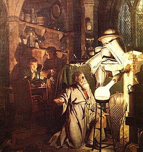 The Alchemist in Search of the Philosopher's Stone, painting by Joseph Wright, 1771.