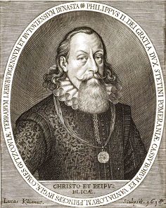 Portrait of Philip II of Pomerania, painted by Sebastian Hepp, copperplate engraving by Lucas Kilian.