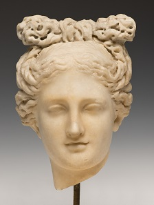 Head of Aphrodite. Roman, 2nd century A.D. Marble. SBMA, Gift of Wright S. Ludington.