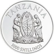 Tanzania / 1000 Shillings / Silver .999 / 25g / 38,61mm / Mintage: 2500.