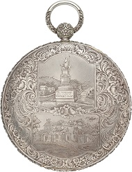 Obverse and reverse of the silver case in the form of a hunter's case pocket watch.