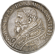 Lot 1720: VATICAN. Sixtus V, 1585-1590. Piastra AN IIII / 1588. Very rare. Extremely fine. Estimate: 5,000,- euros. Hammer price: 10,500,- euros.