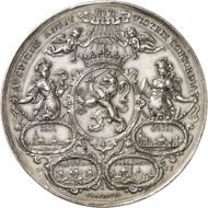 Lot 4046: S'HERTOGENBOSCH (Netherlands). Silver medal 1630 by A. van der Wilge. Very rare. Extremely fine. Estimate: 6,000,- euros. Hammer price: 17,000,- euros.