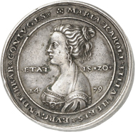 Lot 4628: HRE. Maximilian I, 1490-1519. Silver medal no date (after 1511) of triple schaulguldiner weight on his first wedding to Mary of Burgundy. Extremely rare. Very fine to extremely fine. Estimate: 3,000,- euros. Hammer price: 22,000,- euros.