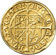 Lot 5002: POMERANIA. Duke Bogislaw X, 1474-1523. Gold gulden no date (1498/9), Stettin. The first gold coin of Pomerania. Extremely rare. Very fine. Estimate: 10,000,- euros. Hammer price: 19,000,- euros.
