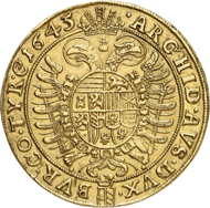 Lot 5483: HRE. Ferdinand III, 1625-1637. 10 ducats 1645, Vienna. Very rare. Almost extremely fine. Estimate: 25,000,- euros. Hammer price: 46,000,- euros.