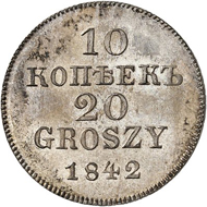 Lot 6256: RUSSIA. For POLAND. Nicholas I, 1825-1855. Pattern for 10 kopecks / 20 groszy 1842, Warsaw. Very rare. Proof. Estimate: 5,000,- euros. Hammer price: 20,000,- euros.