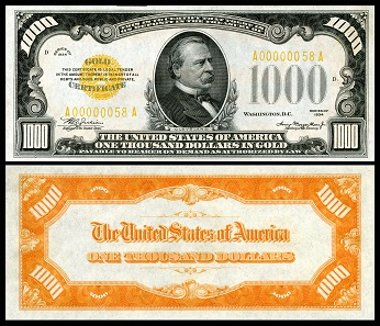 Grover Cleveland's support of the gold standard - and therefore the end of Carson City Mint - brought him a place of honor on an early US gold certificate in the value of $1,000 issued in 1934. Source: National Numismatic Collection at the Smithsonian Institution / Wikipedia.