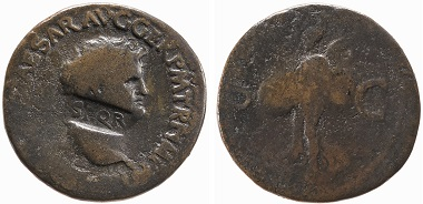 Copper as of Nero countermarked on the portrait's neck with SPQR (The Senate and the People of Rome) after his downfall; Lyon (France), AD 65. © The Trustees of the British Museum.