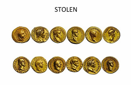 Stolen collection of 12 Caesars. Source: Numismatic Crime Information Center.