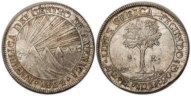 1038550: CENTRAL AMERICAN REPUBLIC. 1824-NG M AR 8 Reales. NGC MS63. 3,950 USD.