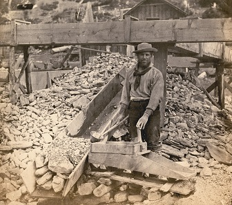 Miner using a rocker box, Barkerville, 1868. Image A-00353 courtesy of the Royal BC Museum and Archives.