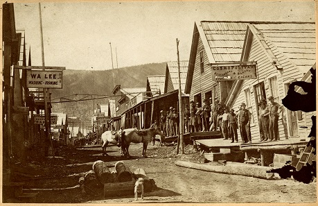 Barkerville, 1868. This photo depicts the main street of Barkerville just before the 1868 fire that destroyed the town. Image F-00305 courtesy of the Royal BC Museum and Archives.