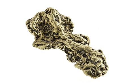 The Turnagain Nugget is the largest existing gold nugget ever found in British Columbia: it weighs 1,642 grams (52 troy onces) and is approximately 4.2 cm high, 18.1 cm wide and 9.2 cm deep. Image RBCM 990.65 courtesy of the Royal BC Museum and Archives.