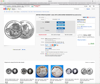 Screenshot of eBay featuring another imitation certainly inspired by the famous award winning hedgehog of Coin Invest Trust.