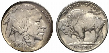 The Buffalo Nickel; this particular one was minted during the last minting year, 1938, in Denver. From the auction Gorny & Mosch 209 (2012), 4513.