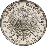 Lot 4769: German Empire. Frederick August III, 1904-1918. 3 marks 1917 E.