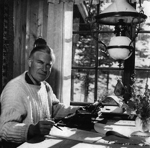 Georg Henrik von Wright (1916-2003) here on a photograph taken in his summer estate in Inga (Inkoo), on Valö island.
