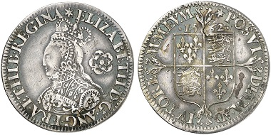 Elizabeth I, 1558-1603. 6 Pence 1562, London. From Künker 241 (2013), 2245.