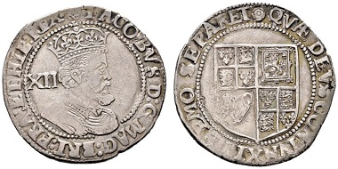 Jacob I, 1603-1625. Shilling undated (1619-1625). From e-Auction Rauch 18 (2015), 1366.